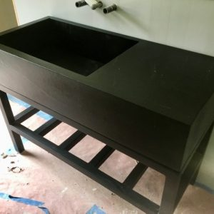 Custom Soapstone Sink with Built in Countertop and Custom Powdercoat Tube Steel Base