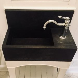 Custom Churchill Soapstone Sink with High Back and Built-in Countertop on Custom Maple Painted Wood Base